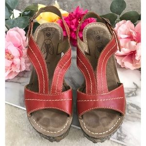 Fly London Leather Red Floral Wedges Sandals 39 8